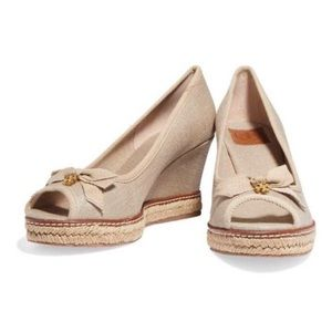 Tory Burch Jackie 2 Gold Shimmer Wedge Espadrilles